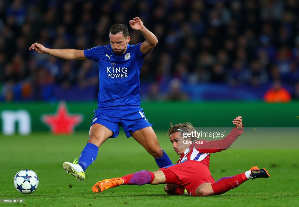Danny Drinkwater of Leicester City is tackled by Antoine Griezmann of Atletico Madrid during the UEFA Champions League Quarter Final second leg match between Leicester City and Club Atletico de Madrid at The King Power Stadium on April 18, 2017 in Leicester, United Kingdom.