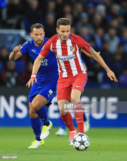Danny Drinkwater of Leicester City puts pressure on Saul Niguez of Atletico Madrid during the UEFA Champions League Quarter Final second leg match...