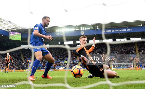 Danny Drinkwater of Leicester City reacts to Sam Clucas of Hull City scoring his sides first goal during the Premier League match between Leicester...