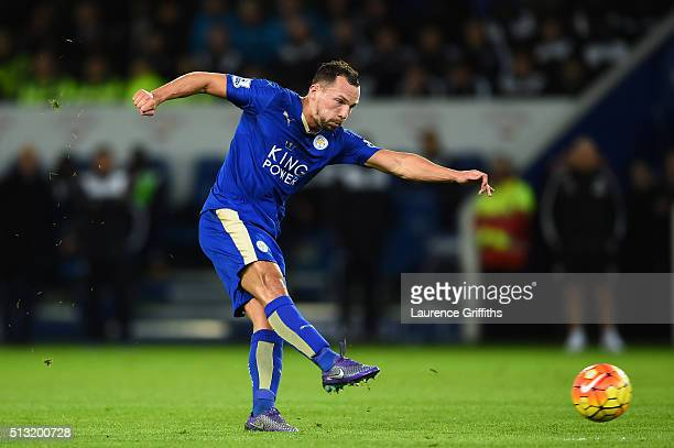 Danny Drinkwater of Leicester City scores his team's first goal during the Barclays Premier League match between Leicester City and West Bromwich...