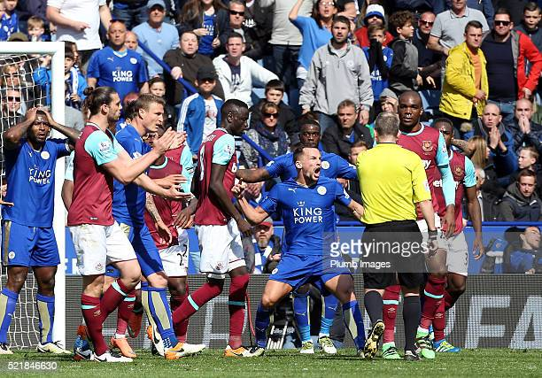 Danny Drinkwater of Leicester City screams at Referee Jonathan Moss after he awards West ham a penalty during the Barclays Premier League match...