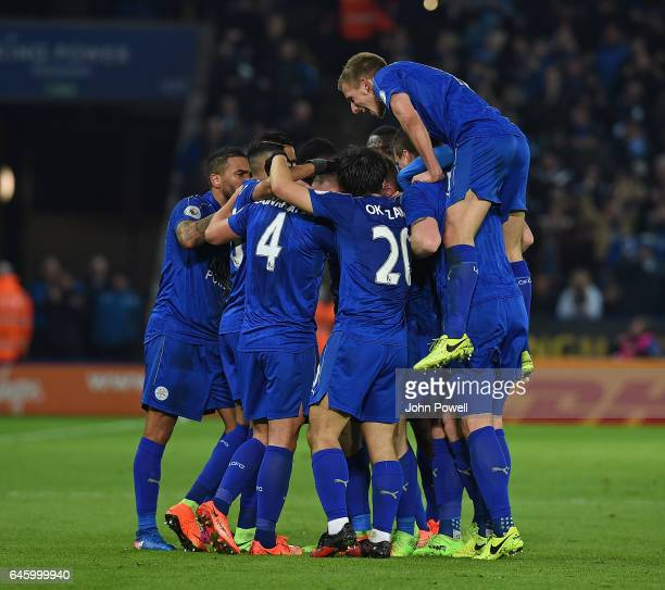 Danny Drinkwater of Leicesyter city score the second and celebrates during the Premier League match between Leicester City and Liverpool at The King...