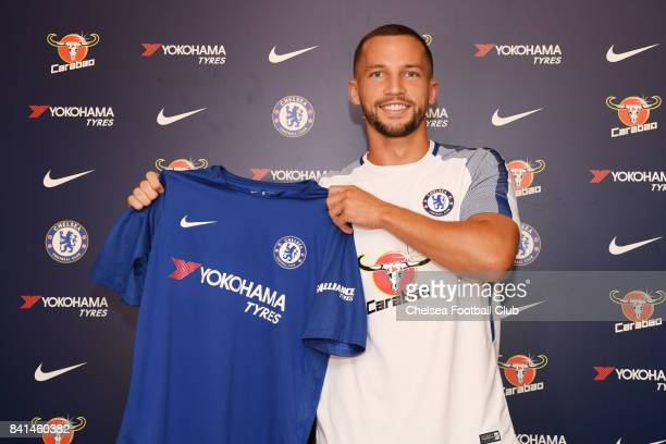Danny Drinkwater poses as he is unveiled as a new signing for Chelsea FC on August 31 2017 in Cobham England