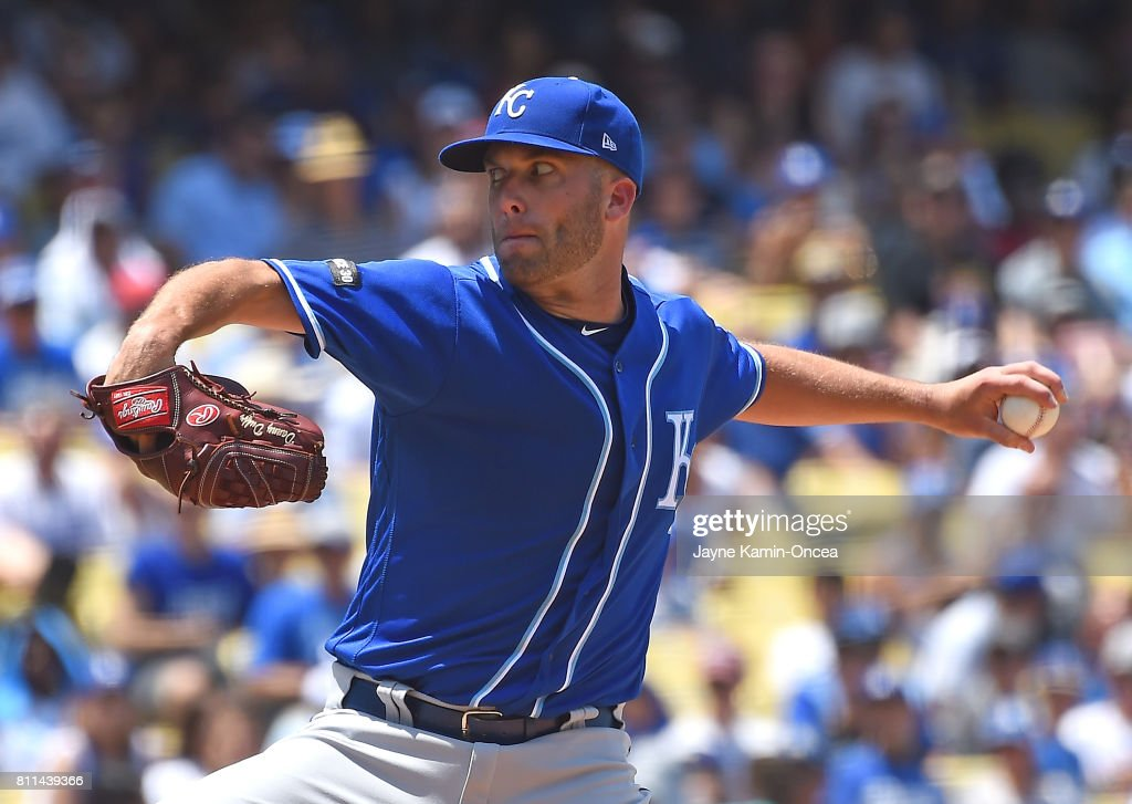 Danny Duffy #41 of the Kansas City Royals in the second inning of the game against the Los Angeles Dodgers at Dodger Stadium on July 9, 2017 in Los Angeles, California.