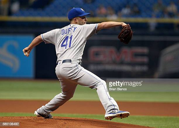 Danny Duffy of the Kansas City Royals pitches during the first inning of a game against the Tampa Bay Rays on August 1 2016 at Tropicana Field in St...