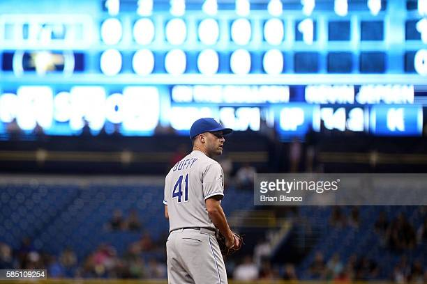 Danny Duffy of the Kansas City Royals pitches during the seventh inning of a game against the Tampa Bay Rays on August 1 2016 at Tropicana Field in...