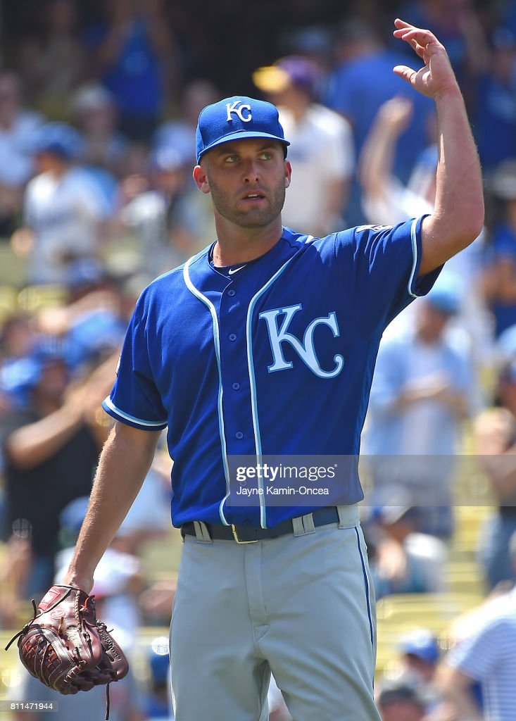Danny Duffy #41 of the Kansas City Royals reacts after allowing a solo home run to Austin Barnes #15 of the Los Angeles Dodgers in the sixth inning at Dodger Stadium on July 9, 2017 in Los Angeles, California.