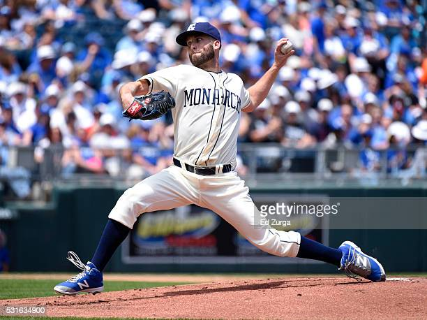 Danny Duffy of the Kansas City Royals throws in the first inning against the Atlanta Braves at Kauffman Stadium on May 15 2016 in Kansas City Missouri
