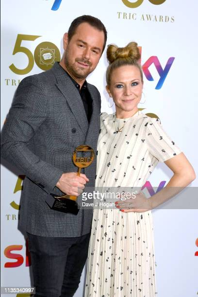 Danny Dyer and Kellie Bright pose with the award for Soap Actor the 2019 'TRIC Awards' held at The Grosvenor House Hotel on March 12 2019 in London...