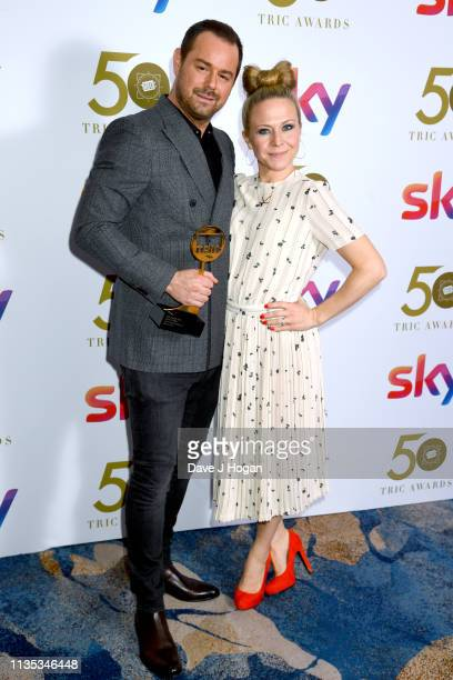 Danny Dyer and Kellie Bright pose with the award for Soap Actor the 2019 'TRIC Awards' held at The Grosvenor House Hotel on March 12, 2019 in London,...