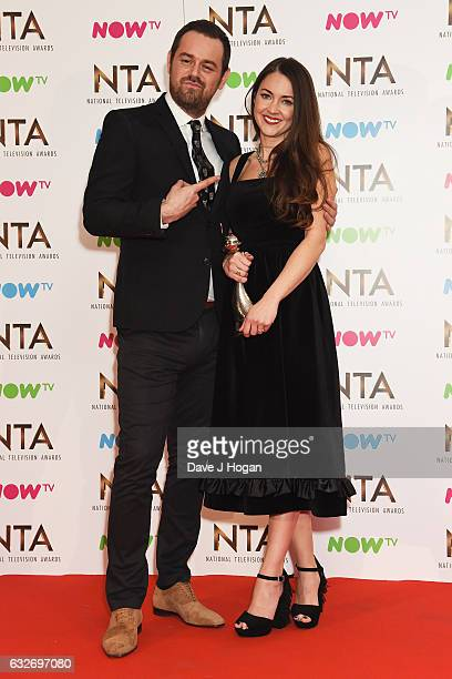 Danny Dyer and Lacey Turner pose in the winners room at the National Television Awards at The O2 Arena on January 25 2017 in London England