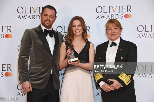 Danny Dyer Director Rebecca Frecknall winner of Best Revival for Summer And Smoke and Cunard Captain Inger Klein Thorhauge pose in the press room at...