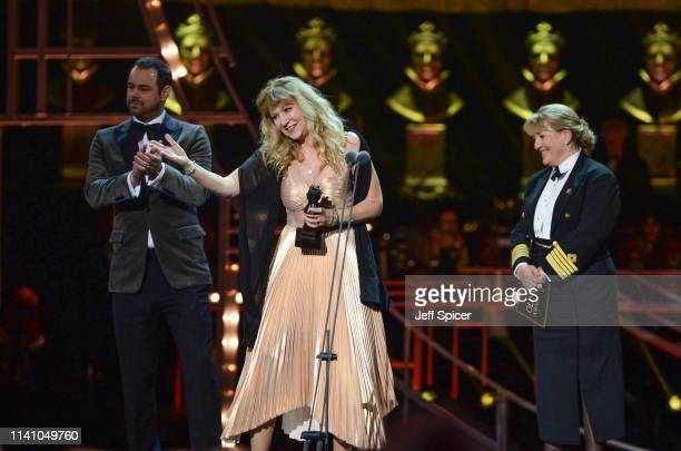 Danny Dyer Sonia Friedman winner of Best Revival for 'Summer And Smoke' and Cunard Captain Inger Klein Thorhauge on stage during The Olivier Awards...