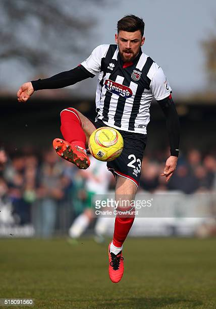 Danny East of Grimsby looks to bring the ball down during the FA Trophy Semi Final 1st Leg match between Bognor Regis Town and Grimsby Town at...