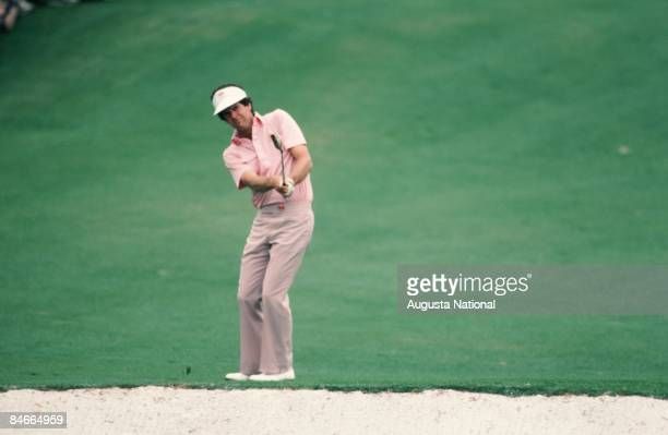 Danny Edwards hits over a bunker during the 1986 Masters Tournament at Augusta National Golf Club in April 1986 in Augusta Georgia