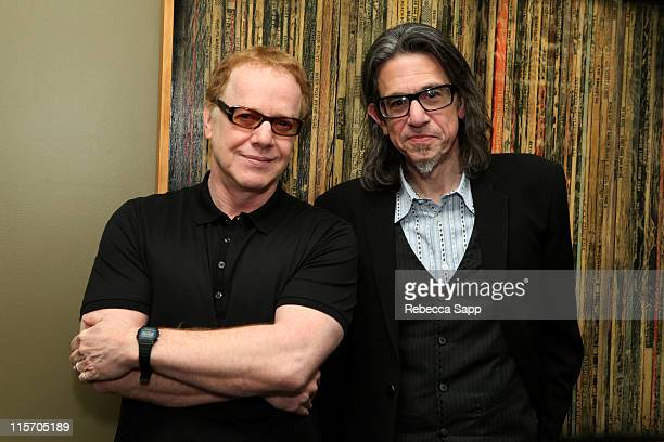 Danny Elfman and GRAMMY Foundation vice president Scott Goldman pose after An Evening With Danny Elfman at The GRAMMY Museum on June 8 2011 in Los...