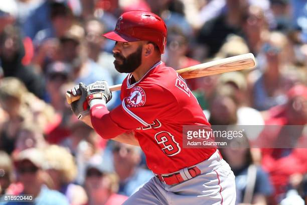 Danny Espinosa of the Los Angeles Angels of Anaheim bats during a game against the Boston Red Sox at Fenway Park on June 25 2017 in Boston...