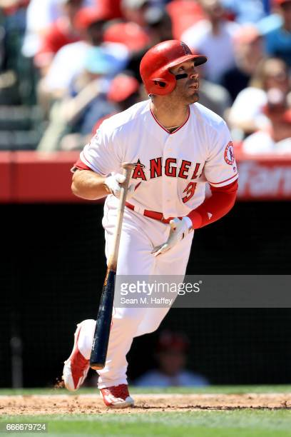 Danny Espinosa of the Los Angeles Angels of Anaheim runs to first during a game against the Seattle Mariners at Angel Stadium of Anaheim on April 9...
