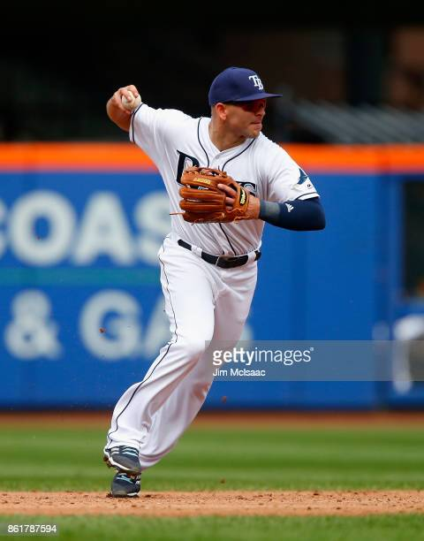 Danny Espinosa of the Tampa Bay Rays in action against the New York Yankees at Citi Field on September 13 2017 in the Flushing neighborhood of the...