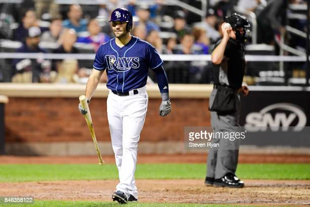 Danny Espinosa of the Tampa Bay Rays reacts against the New York Yankees at Citi Field on September 11 2017 in the Flushing neighborhood of the...