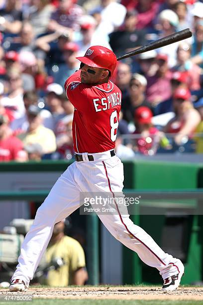 Danny Espinosa of the Washington Nationals bats against the Philadelphia Phillies at Nationals Park on May 24 2015 in Washington DC The Washington...