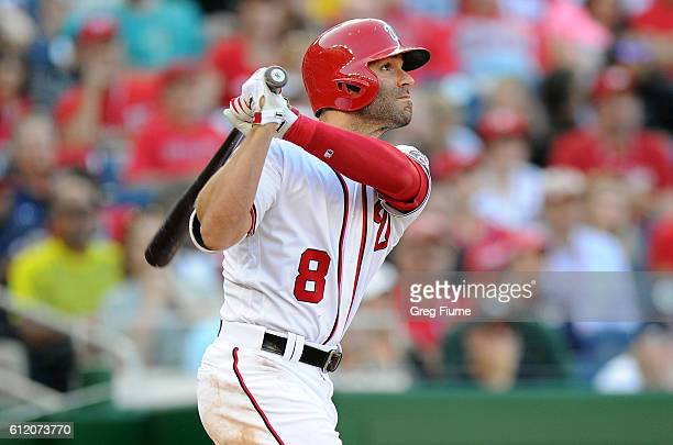 Danny Espinosa of the Washington Nationals hits a tworun home run in fifth inning against the Miami Marlins at Nationals Park on October 2 2016 in...