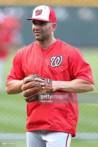 Danny Espinosa of the Washington Nationals looks on before the game against the Colorado Rockies at Coors Field on August 16 2016 in Denver Colorado...