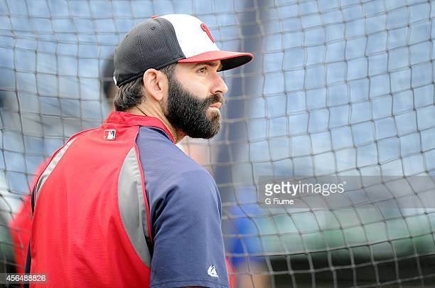 Danny Espinosa of the Washington Nationals warms up before the game against the New York Mets at Nationals Park on September 23 2014 in Washington DC