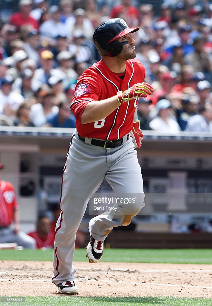 Danny Espinosa #8 of the Washington Nationals watches the flight of his three-run home run during the fifth inning of a baseball game against the San Diego Padres at Petco Park May 17, 2015 in San Diego, California.