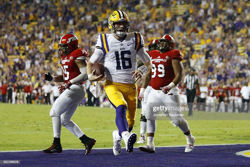 Danny Etling #16 of the LSU Tigers scores a thouchdown during the second half of a game against the Jacksonville State Gamecocks at Tiger Stadium on September 10, 2016 in Baton Rouge, Louisiana.