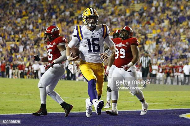 Danny Etling of the LSU Tigers scores a thouchdown during the second half of a game against the Jacksonville State Gamecocks at Tiger Stadium on...