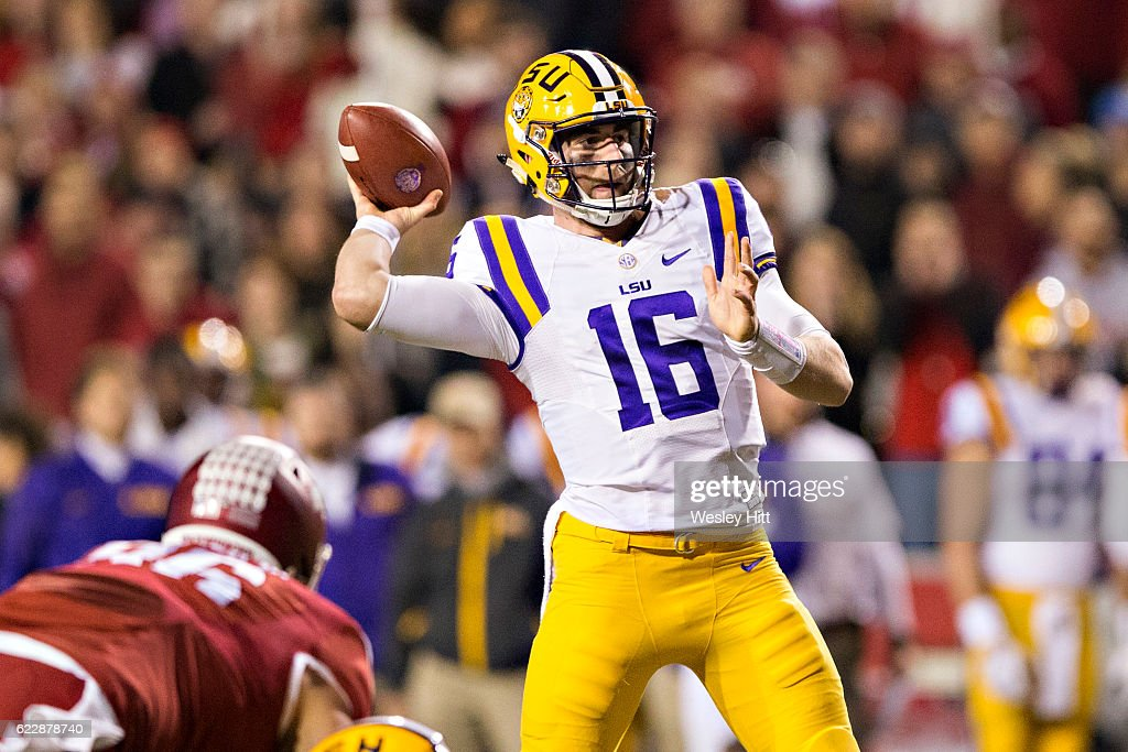 Danny Etling #16 of the LSU Tigers throws a pass in the first half of a game against the Arkansas Razorbacks at Razorback Stadium on November 12, 2016 in Fayetteville, Arkansas.