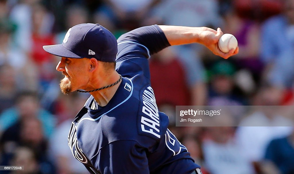 Danny Farquhar #43 of the Tampa Bay Rays throws relief in the sixth inning against the Boston Red Sox at Fenway Park on April 16, 2017 in Boston, Massachusetts.