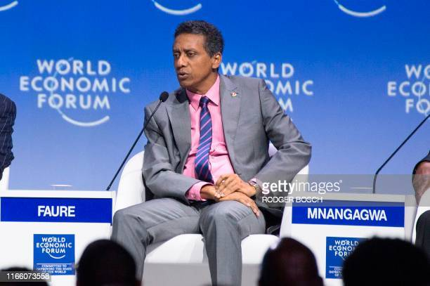 Danny Faure, President of Seychelles, speaks at a plenary session of African Leaders at the World Economic Forum Africa meeting at the Cape Town...