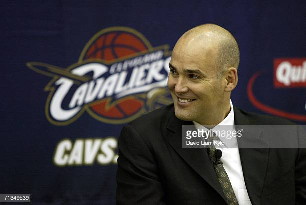 Danny Ferry General Manager of the Cleveland Cavaliers publicly welcomes new players Shannon Brown and Daniel Gibson during a press conference on...
