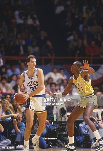 Danny Ferry of Duke University looks to pass the ball during a game in the 1980s