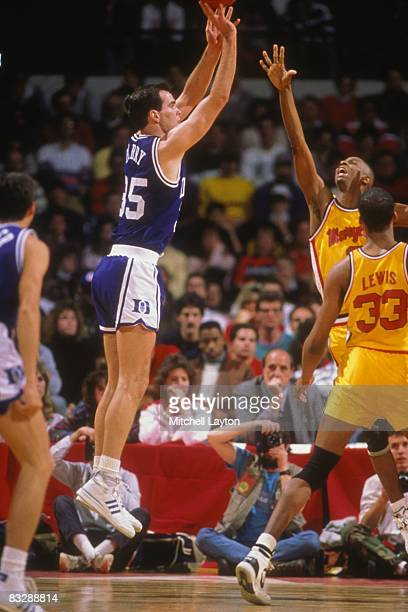 Danny Ferry of the Duke Blue Devils takes a jump shot during a college basketball game against the Maryland Terrapins on February 15 1988 at Cole...