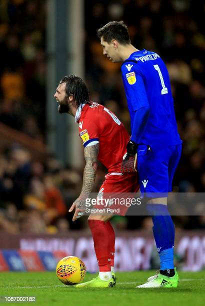 Danny Fox and goalkeeper Costel Pantilimon of Nottingham Forest during the Sky Bet Championship match between Norwich City and Nottingham Forest at...