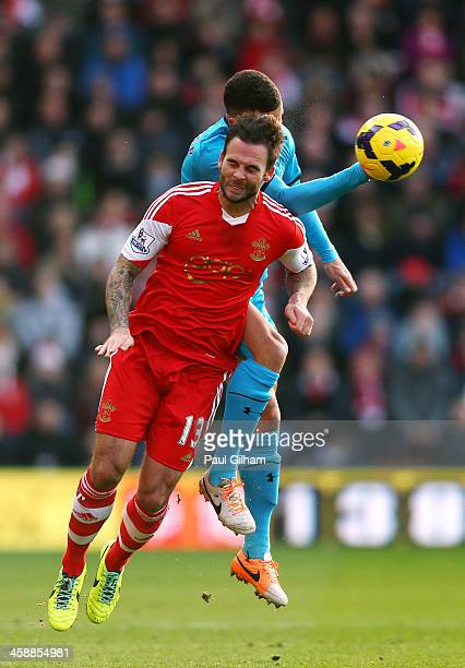 Danny Fox of Southampton and Kyle Walker of Spurs compete for a header during the Barclays Premier League match between Southampton and Tottenham...