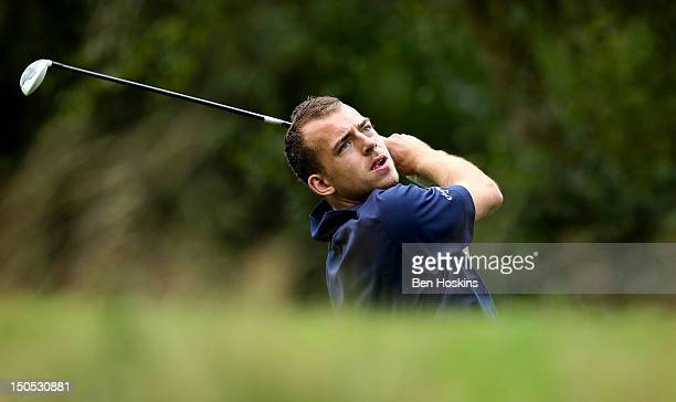 Danny Francis of Hockley Golf Club hits his tee shot on the 11th hole during the Regional Final of the Virgin Atlantic PGA National ProAm...