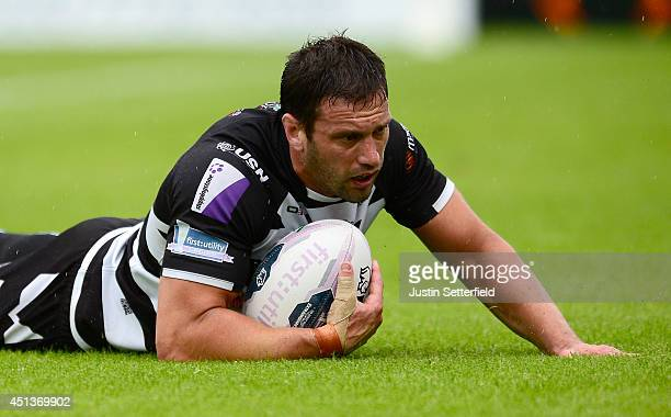 Danny Galea of Widnes Vikings scores a try during the Super League match between London Broncos and Widnes Vikings at The Hive on June 28 2014 in...