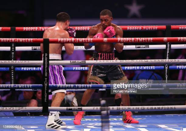 Danny Garcia and Errol Spence Jr. During their WBC & IBF World Welterweight Championship fight at AT&T Stadium on December 05, 2020 in Arlington,...