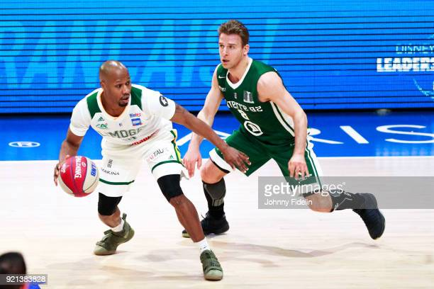 Danny Gibson of Limoges and Heiko Schaffartzik of Nanterre during the Leaders Cup match between Limoges v Nanterre on February 16 2018 in Paris France