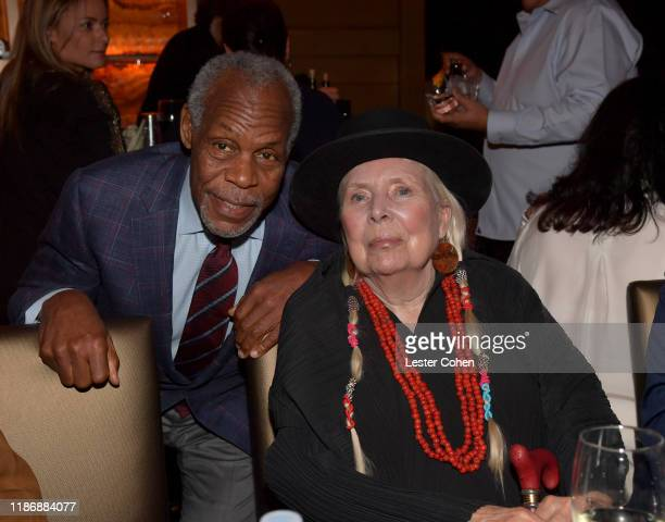Danny Glover and Joni Mitchell attend the Jazz Foundation honors Joni Mitchell And Wayne Shorter at Vibrato on November 10, 2019 in Los Angeles,...