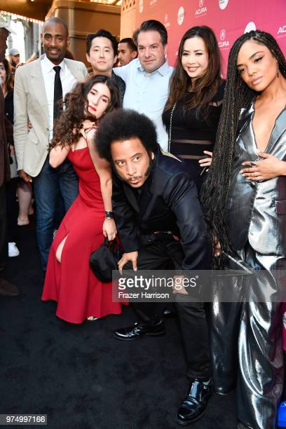 Danny Glover, Kate Berlant, Steven Yeun, Boots Riley, George Rush, Nina Yang Bongiovi, and Tessa Thompson attend the Sundance Institute at Sundown...