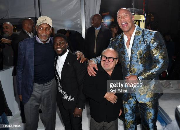 "Danny Glover, Kevin Hart, Danny DeVito, and Dwayne Johnson attend the premiere of Sony Pictures' ""Jumanji: The Next Level"" at TCL Chinese Theatre on..."