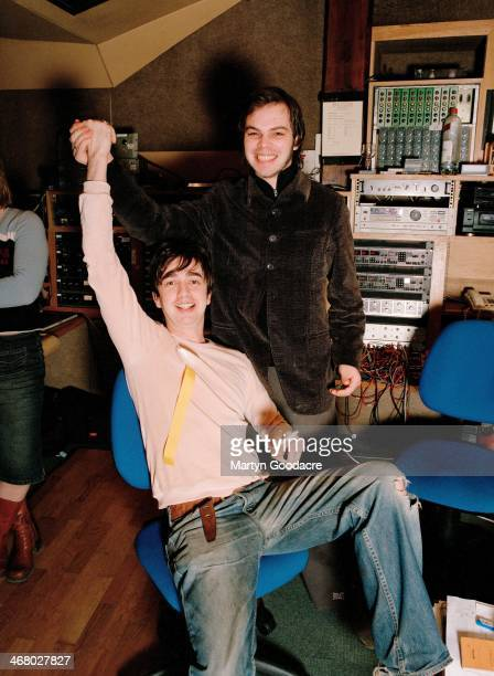Danny Goffey and Gaz Coombes of Supergrass, at Rockfield Studios in Wales during the recording of 'Life On Other Planets', United Kingdom, 2002.