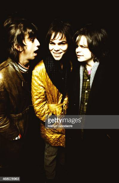 Danny Goffey, Gaz Coombes and Mickey Quinn of Supergrass, group portrait, United Kingdom, 1995.