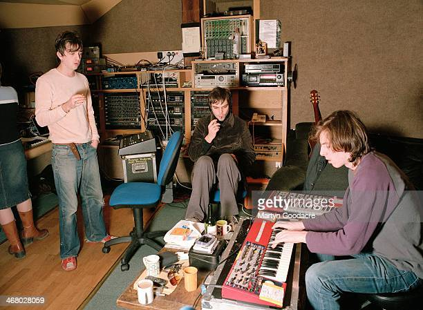 Danny Goffey, Gaz Coombes and Rob Coombes of Supergrass, at Rockfield Studios in Wales during the recording of 'Life On Other Planets', United...
