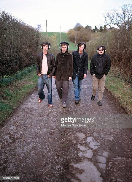 Danny Goffey, Gaz Coombes, Rob Coombes and Mickey Quinn of Supergrass, at Rockfield Studios in Wales during the recording of 'Life On Other Planets',...